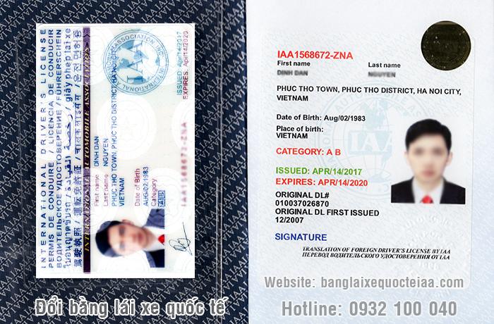 Minh họa: Mẫu bằng lái xe quốc tế IAA Mỹ cấp