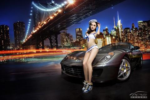 Mỹ nữ cực nóng bỏng bên ngựa đua Ferrari